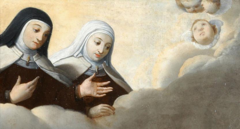 Derrière notre Sainte Mère : comme une fille après sa mère.